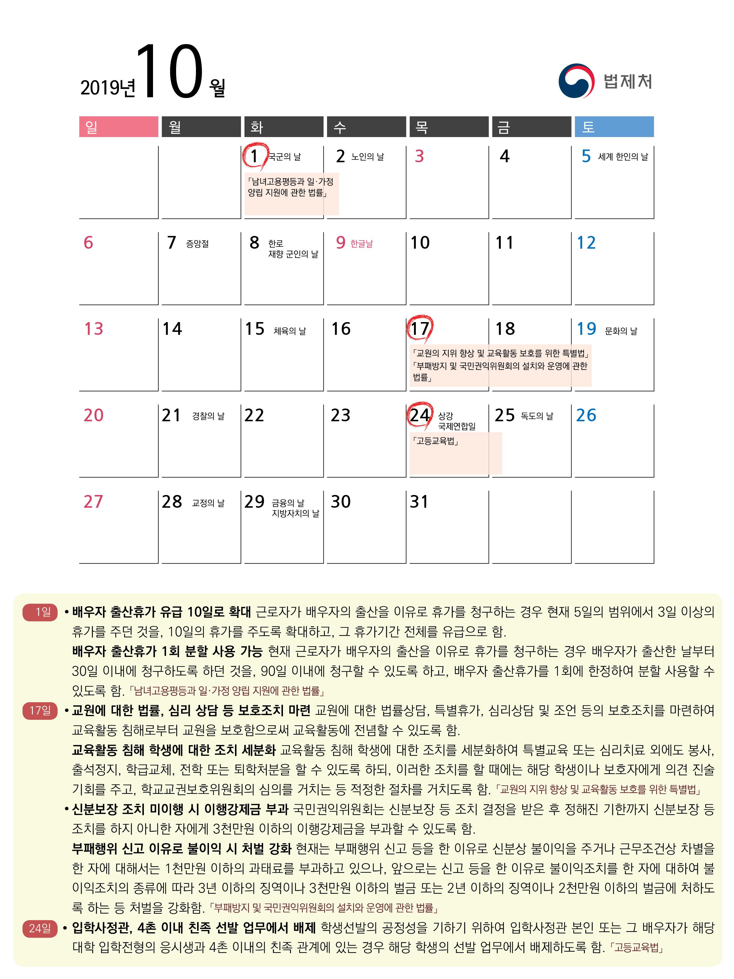 2019년 10월 주요 시행법령 : 자세한 내용은 아래의 붙임1 시행법령 및 시행일자 참고